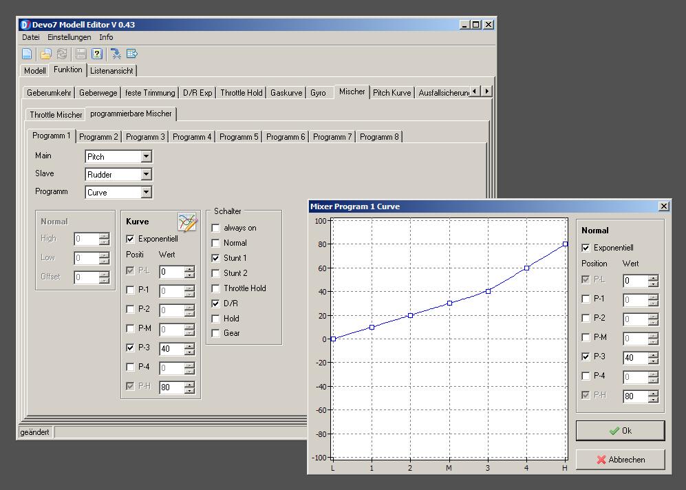 Devo 7 Modell Editor Screenshot