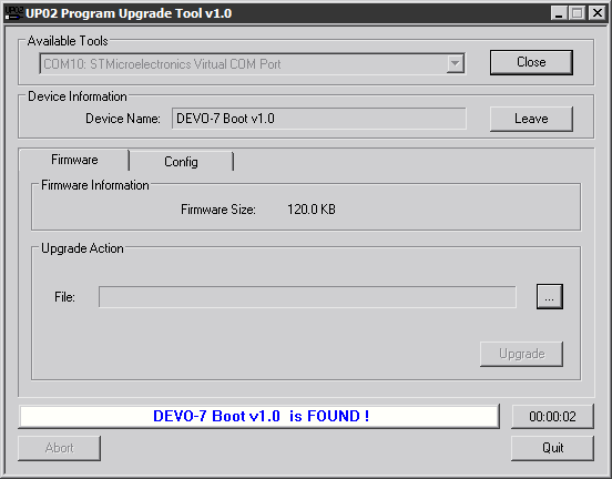 UP02 Program Upgrade Tool v1.0-bootloader-version