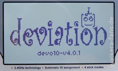 Startbildschirm von Deviation
