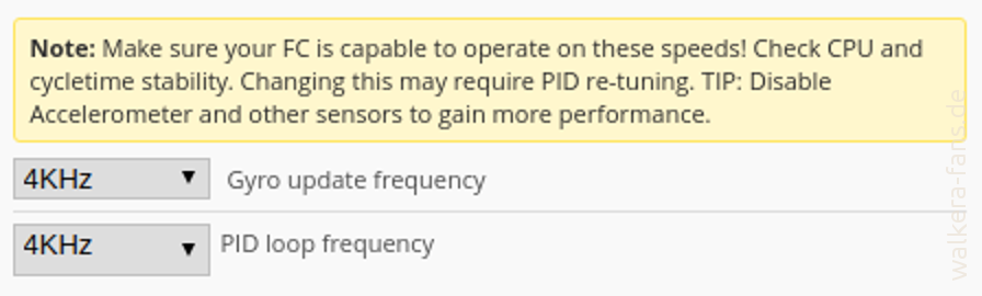 F210 Betaflight 2.9 Looptime mit Warnung